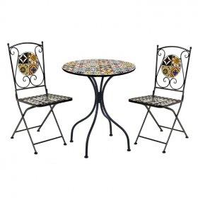 Lauko baldų komplektas NOVELLY HOME MA0326, stalas 60 x 60 x 72 cm., kėdė 42 x 56 x 94 cm., juoda/mozaika, plienas