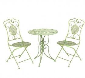 Lauko baldų komplektas NOVELLY HOME MA0133, stalas 60 x 60 x 72 cm., kėdė 42 x 56 x 94 cm.,žalias, plienas