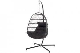Pakabinamas krėslas SAIGOG, pilkas, plienas, juodos pagalvėlės, 130x23x88 cm, apkrova iki 120 kg., ST