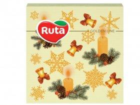 Kalėdinės servetėlės RUTA, 33 x 33 cm., 20 vnt., 2 sluoks., žvakutės, varpeliai
