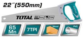 Pjūklas TOTAL, medžiui, 0.9 mm, 7TPI, 550 mm, THT55226