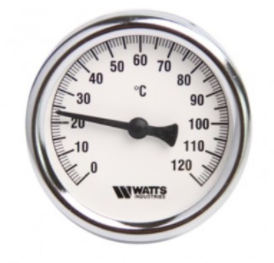 Termometras bimetalinis WATTS, 120*C, 1/2'', išorė, L=50 mm, 991080