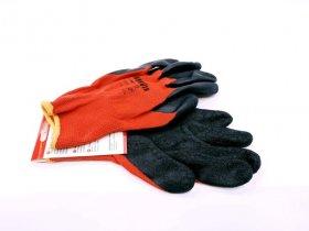 Pirštinės HERVIN, raudonos, aplietos lateksu, poliesterinės, dydis XL(10) LLP001