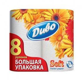 Tualetinis popierius  DIVO SOFT, 8 rit. Baltos spalvos, 2 sluoksnių,