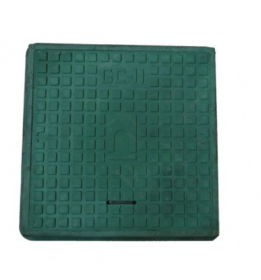 Keturkampis kanalizacijos šulinio dangtis 4IQ HD A15, 680 x 680 mm, 21 kg, apkrova 1,5 t, polimerinis, žalia sp.