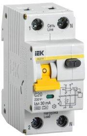 Automatinis išjungiklis su srovės nuotekio rele IEK MAD22-5-020-C-30, 2C, 20 A, A, 6 kA