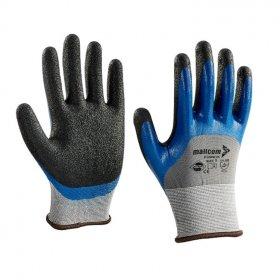 Pirštinės poliesterinės, pilkos sp. HERVIN, aplietos dvigubo sluoksnio, mėlynos ir juodos sp. nitrilu, (9)L, P35NHK