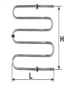 """Rankšluosčių džiovintuvas-gyvatukas WELLMER, d32, M3/4"""", 630 x 480 mm, 3 bangų, 3 met. laikliai, 316 plienas, 15077M"""