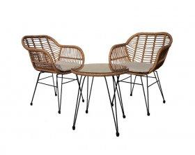 Lauko baldų komplektas SYCD-1005W, 2 krėslai, stalas, metalas, sintetinis ratanas, šviesiai rudas