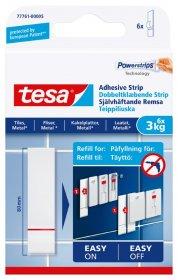 Klijuojami kabliukai TESA 77761 POWERSTRIPS, 6 vnt. x 3 kg, skirti iki 3 kg svorio kabinti, komplekte 6 dvipusio lipnumo juostelės