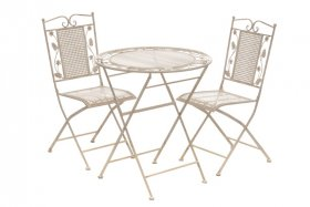 Lauko baldų komplektas RHODOS, stalas 70x76, 2 kėdės 39x48x90cm, plienas, sulakstomas, apkrova iki 100 kg., ST