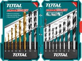 Grąžtų rinkinys TOTAL, 16 vnt., metalui (2-8 mm), betonui (4,-10 mm), medžiui (4-10 mm), TACSD6165