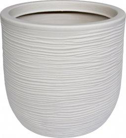 Plastikinis lauko vazonas CORI 27 cm., baltos sp.