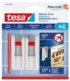 Klijuojami kabliukai TESA 77765, 2 vnt. x 3 kg, reguliuojamas aukštis, skirti iki 3 kg svorio kabinti, komplekte 3 dvipusio lipnumo juostelės