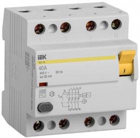 Srovės nuotekio relė IEK MDV10-4-040-030, 40 A, 4P, AC, 400 V, 4.5 kA