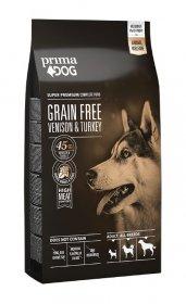 Sausas šunų ėdalas PRIMADOG, be grūdų, stirniena-kalakutiena, visiems suaugusiems šunims, 10 kg.