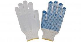 Nailoninės pirštinės, padengtos PVC taškeliais iš vienos pusės, baltos sp., (9)L, 786