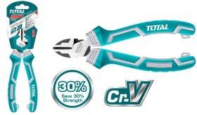 Šoninio kirpimo replės TOTAL, sustiprintos, Cr-V, 30% efektyvesnės, 180 mm., THT230706S