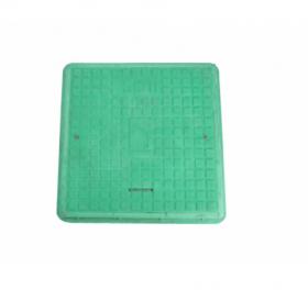 Keturkampis kanalizacijos šulinio dangtis 4IQ HD A15, 680 x 680 mm, 21 kg, apkrova 1,5 t, rakinamas, polimerinis, žalia sp.