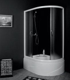 Dušo kabina COMBO Laguna DN-A8011, 80 x 110 x 202 cm, pusapvalė, dešininė, grūdintas stiklas, aukštas akrilinis padėklas 38 cm, baltos spalvos chromuotas rėmas