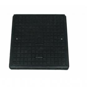 Keturkampis kanalizacijos šulinio dangtis 4IQ HD A15, 680 x 680 mm, 21 kg, apkrova 1,5 t, rakinamas, polimerinis, juoda sp.