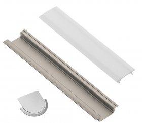 Profilis LED juostoms EUROLIGHT AL-R1-G, aliuminis, įfrezuojamas, pilkos spalvos anoduotas, ilgis 1 m, komplekte matinis dangtelis ir 2 antgaliai