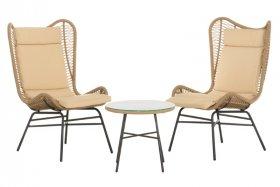 Lauko baldų komplektas PANAMA, stalas 52x46cm, 2 kėdės 67x72x103 cm., tekstilenas, grūdintas stiklas, apkrova iki 100 kg., ST
