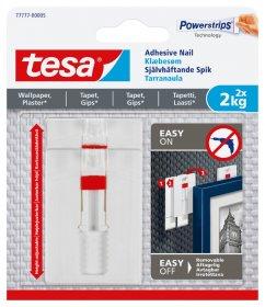 Klijuojami kabliukai TESA 77777, 2 vnt. x 2 kg, nelygiems paviršiams, reguliuojamas aukštis, skirti iki 2 kg svorio kabinti, komplekte 6 dvipusio lipnumo juostelės
