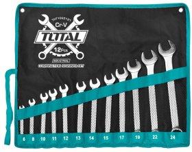 Raktų rinkinys TOTAL, kilpinių plokščių, 12vnt., 6-24 mm, THT1022121