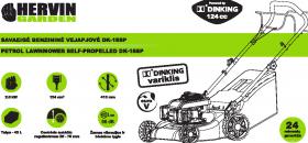 Vejapjovė benz. savaeigė HERVIN GARDEN 2in1, variklis Dinking 124cm3 EURO V, 2 kW, pj. plotis 410 mm, talpa 45L, DK-16SP