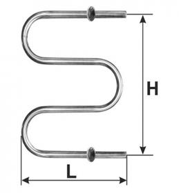 Rankšluosčių džiovintuvas-gyvatukas WELLMER, d32, F1/2'', 570 x 450 mm, 2 bangų, 2 met. laikliai, 316 plienas, 15441M
