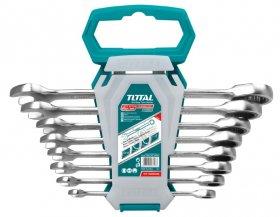 Raktų rinkinys TOTAL, kilpinių plokščių, su terkšle, Cr-Mo, 8vnt., 8-19 mm, THT102RK086