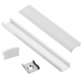 Profilis LED juostoms EUROLIGHT AL-S1-W, aliuminis, virštinkinis, baltos spalvos anoduotas, ilgis 1 m, komplekte matinis dangtelis, 2 antgaliai ir 2 laikikliai