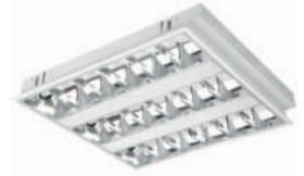 Liuminescencinis šviestuvas ORRO Grille 3 x 14 W Z/A IP-20, T5, su 3 el. balastais, 600 x 600 mm, N