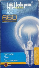 Kaitrinė lempa ISKRA, 60 W, E14, 230 V, burbuliukas, skaidrus, 557048