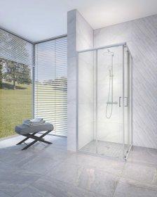 Dušo kabina RUBINETA RUB-106, 90 x 90 x 198 cm, kvadratinė, 6 mm grūdintas stiklas, chromuoti poliruoto aliuminio profiliai, nerūdijančio plieno rankenėlės, 693005, ST