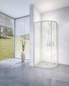 Dušo kabina RUBINETA RUB-203, 90 x 90 x 198 cm, pusapvalė, 6 mm grūdintas stiklas, chromuoti poliruoto aliuminio profiliai, nerūdijančio plieno rankenėlės, 693002, ST