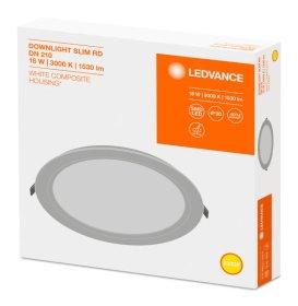 Montuojamas šviestuvas panelė LEDVANCE SLIM, įleidžiama, LED 6W, 220-240V, 120 laispnių, 420 lm, 3000 K, IP20, apvali, baltos sp., 118x30 mm, pjaunama skylė 105 mm, N