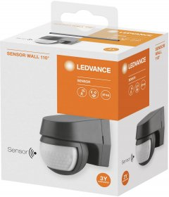 Judesio jutiklis LEDVANCE DG, IP44, 110 laispsnių, 12 m, 1000W, 220-240V, 1-1000 lx, 2 s - 15 min., -10+40 laipsnių, pilkos spalvos, 60 x 77 x 72 mm