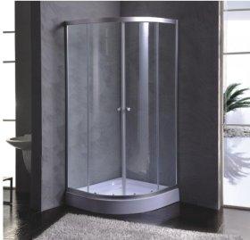 Dušo kabina ET-8204, 90 x 90 x 180 cm, pusapvalė, be padėklo, skaidrūs grūdinti stiklai, stiklo storis 5 mm