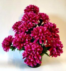 Dirbtinių chrizantemų puokštė vazone kapams NOVELLY HOME P7132x18, violetinės sp., 29x29x42 cm., N