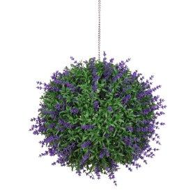 Dekoratyvinis dirbtinės žolės kamuolys HERVIN GARDEN RPCQ6 - A, Skersmuo:  25 cm, Sudėtis: PU, su violetinėmis uogomis