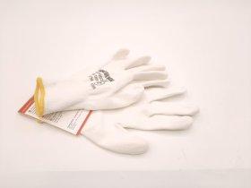 """Baltos nailoninės pirštinės """"Hervin"""" aplietos baltu poliuretanu, PLP001 (7) S dydis"""