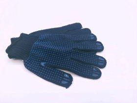 Pirštinės HERVIN XL dydis, megztos, nailoninės su PVC taškeliais ant delno, tamsiai mėlynos, MP008