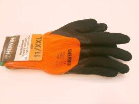 Pirštinės poliesterinės žieminės ''HERVIN'', aplietos latekso puta, oranžinės sp., dydis (10) XL, SPZ010