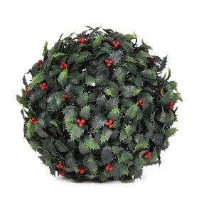 Dekoratyvinis dirbtinės žolės kamuolys HERVIN GARDEN Q20-B, skersmuo:  25 cm, sudėtis: PU, bugienis su raudonomis uogomis