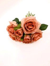 """Dirbtinių rožių puokštė """"Novelly Home"""", sendintos rožinės sp. 26 cm,  DY1-1893A"""