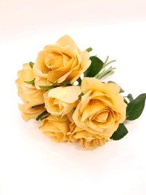 """Dirbtinių rožių puokštė """"Novelly Home"""", sendintos geltonos sp. 26 cm,  DY1-1893B"""