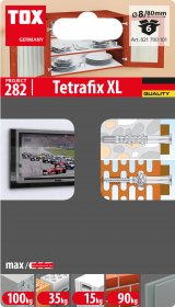 Universalus rėminis kaištis TOX, Tetrafix XL 8/80, 6 vnt.