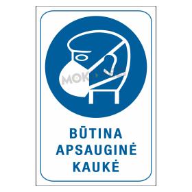 Ženklas BŪTINA APSAUGINĖ KAUKĖ, 150 x 220 mm, lipdukas